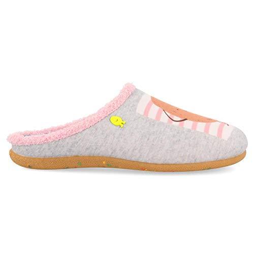 HOT POTATOES Alford, Zapatillas de Estar por casa con talón Abierto Mujer, Gris (Gris Gris), 37 EU