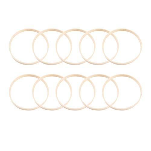 NUOBESTY 12 piezas de madera de bambú atrapasueños anillos aros aros de metal redondos anillos de macramé para atrapasueños diy craft 17 cm