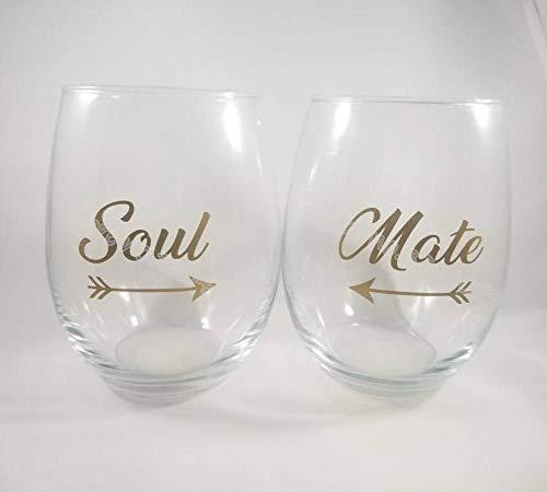 Cooldeerydm 9 stuks ziel en 9 stuks begeleiders/set pijlstickers goudwijnglas familie paartjes decoratie bruiloft party decoratie glazen applicaties zonder steel EB013