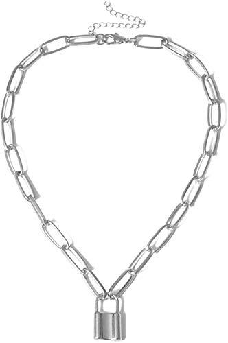 ZPPYMXGZ Co.,ltd Collar de Moda Collar de Hip Hop Collar de Cadena de Abrigo Simple con candado Mujeres/Hombres Collar de Punk Rock con candado Colgante Vintage EMO Grunge Goth Jewelry
