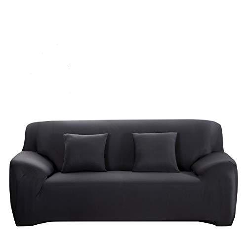 WINOMO Housses de Canapé salon Mobilier Protecteur 2pcs Taie d'oreiller élastique Noir - Taille L 195 x 230 cm