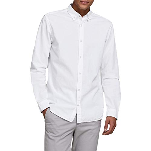 Jack & Jones JJESUMMER Shirt L/S S20 STS Camisa Abotonada, Blanco, XL para Hombre