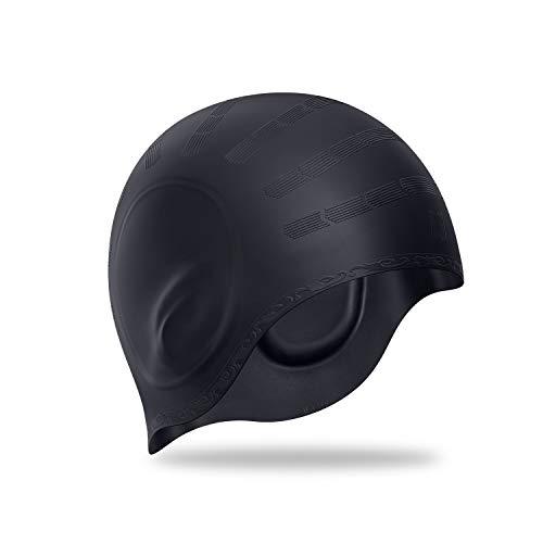 Swim Cap, Durable Silicone Swimming Cap Cover Ears, 3D Ergonomic Design Swimming Caps for Women Kids Men Adults Boys Girls with Nose Clip & Earplugs