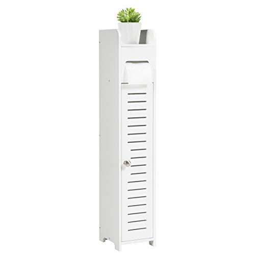 COSTWAY Toilettenschrank mit Toilettenpapierhalter, Badezimmerschrank freistehend, Badschrank schmal, Standschrank 15 x 17 x 80 cm, weiß