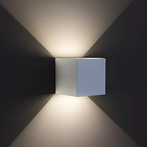 Tecno&Led® Applique cubo BIANCO led da 12W impermeabile IP65 da esterno e interni a luce calda