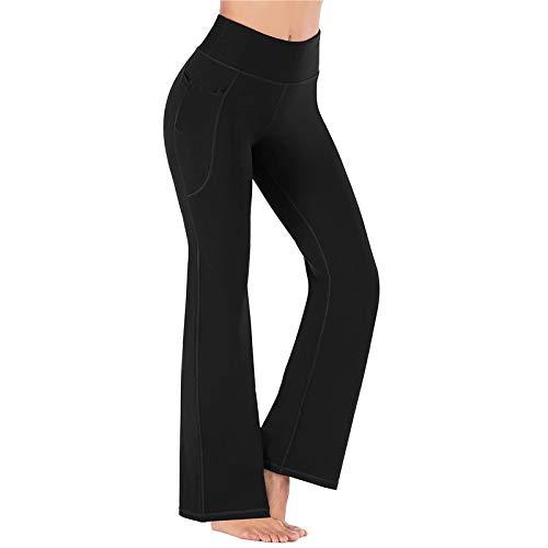 VOWUA Women's Boot-Cut Yoga Pants High Waist with Pockets Tummy Control Workout Non See-Through Bootleg Sports Pants Black