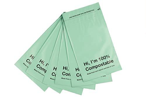 Öko Organics Sobres de envios compostables Bolsas para envío ropa Sobre NO plástico autocierre postal por correo grandes paquetes textiles colores Ecofriendly PLA PBAT (Verde, XL - 39.5x45.5 (50u)