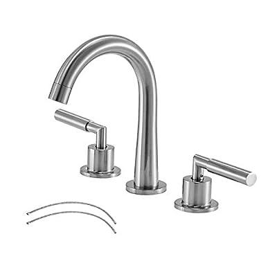 VESLA HOME Modern 2 Handles 3 Holes 8 Inch Brushed Nickel Widespread Bathroom Faucet,Stainless Steel Lavatory Vanity Bathroom Sink Faucet with Water Supply Lines