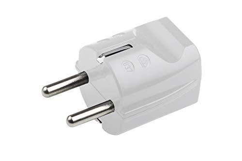 Meister Schutzkontakt-Stecker - Kunststoff - weiß - 250 V - 16 A - Maximaler Kabelquerschnitt 2,5 mm² - IP20 Innenbereich - Gerade Einführung / Schuko-Stecker mit Zugentlastung / 7421010