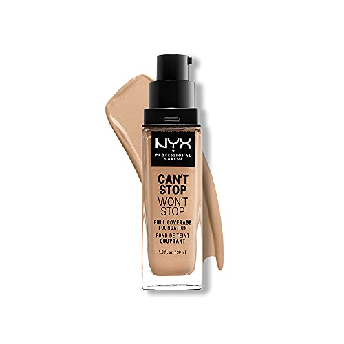 NYX PROFESSIONAL MAKEUP Can't Stop Won't Stop Foundation, 24h Full Coverage Matte Finish - True Beige