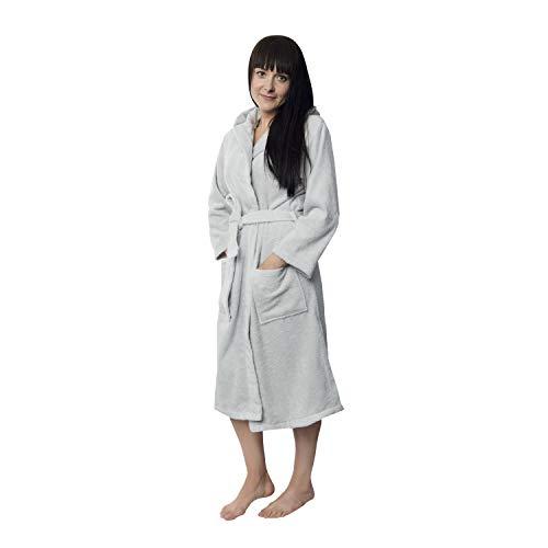 Twinzen Bademantel Damen - M - Grau - 100% Baumwolle (350g/m²) OEKO-TEX® Zertifiziert - Bademantel mit Kapuze, 2 Taschen, Gürtel