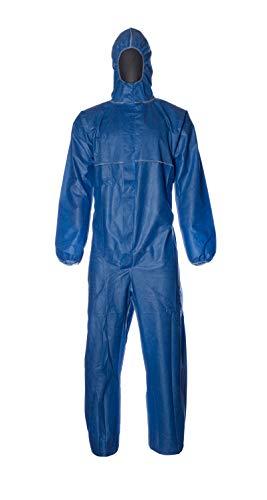 DuPont ProShield 20 | Schutzanzug mit Kapuze, Kategorie III, Typ 5 und 6 | Blau | Größe L, 50 Stück