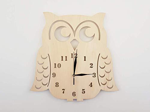 BABEES Kinder Wanduhr EULE, Uhr ohne Tickgeräusche, Kinderuhr für Kinderzimmer, Lautlos Uhrwerk, Wanddeko Skandi Deko (Natur)
