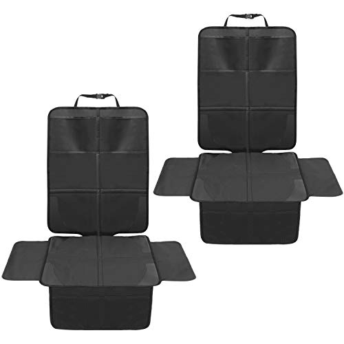 2 Pack Car Seat Protector for Car Seat,Waterproof Seat Protector with Mesh Pockets and Thickest Padding for Your Fabric and Leather Seats