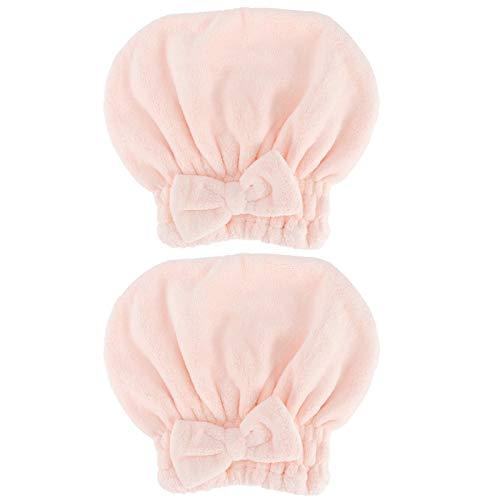 logozoee Haartuchwickel, zuverlässiger Haartrocknungshut aus Weichkorallenvlies, für Make-up-Bad(Dry Hair Cap-pink)