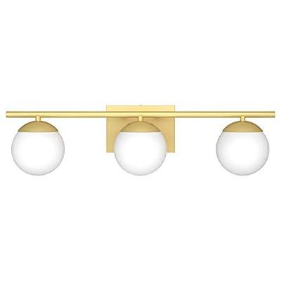 Ralbay Bathroom Vanity Light Fixtures 3 Lights Gold with Milk White Glass Globe Modern Industrial Bathroom Vanity Light Fixtures Over Mirror (Exclude Bulb)