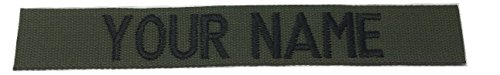 US Army Name Tape or US Army Tape, with Fastener or Sew-On, ACU, Multicam OCP, Black, OD Green, Desert Tan, White (Without Fastener, OD Green)