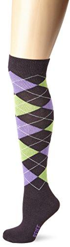 Pfiff 100322 Unisex-Reitstrumpf kariert, Darkgreen/purple, 40-42