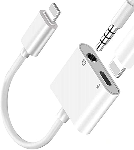 Lightning to 3.5mm Headphones Jack Adapter for iPhone,Apple MFi Certified iPhone Headphones Adapter Dongle Aux Audio Charger Splitter Compatible with iPhone 12/11/XS/XR/X 8 7,iPad-Support All iOS