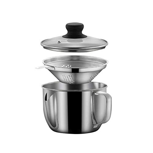 Stainless Steel Fat Separator 4 Cup/1000ML Gravy Grease Separator with Strainer and Glass Lid Soup Oil Separator Cup for Cooking Oil Soup Separator Strainer Pot for Kitchen
