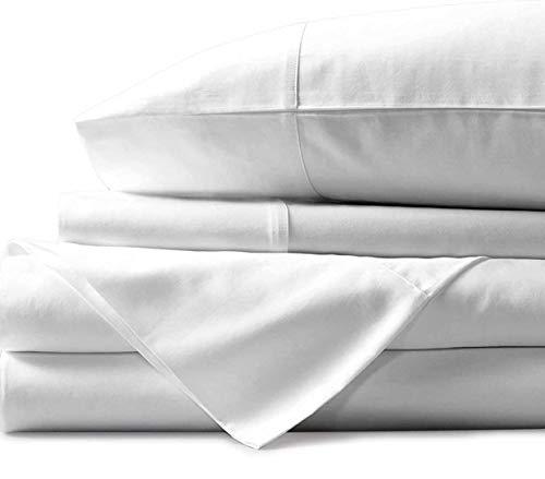 Bunny's Home 100 % ägyptische Baumwolle, 4-teiliges Luxus-Bettlaken-Set, Fadenzahl 800, passend für bis zu 43,2 cm tiefe Taschen, einfarbiges Muster, Kingsize, Weiß.