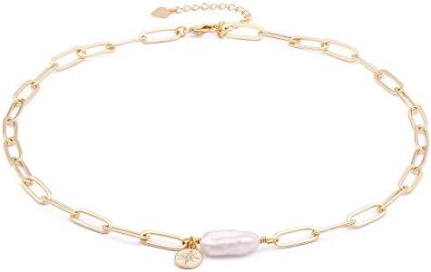 Chunky 18k Gold Chain Choker Necklace Freshwater Biwa Pearl Pendant CZ Starburst Charm Statement product image
