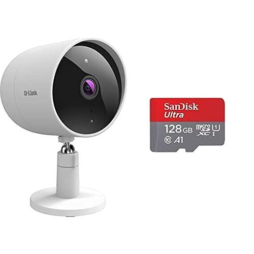 D-Link DCS-8302LH Cámara Exterior WiFi, Full HD, 135º, Control Desde App, Sirena, detección Personas, vídeo en la Nube o SD, ethernet, Blanca+SanDisk Ultra Tarjeta de Memoria microSDXC