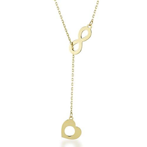 Damen Gold Kette Mit Anhänger 14 Karat / 585 Gelbgold Unendlichkeit mit einem Herz verbunden als Anhänger und an der Kette / 14k Gold Heart Infinity Necklace - Kette größe 45cm