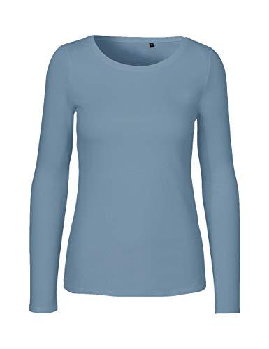 Green Cat Damen Langarmshirt, 100{4fad60c3db142f0c24a09776ab66d79d47e3a7ebfe2971eb36c56ca585b3cd89} Bio-Baumwolle. Fairtrade, Oeko-Tex und Ecolabel Zertifiziert, Textilfarbe: Indigo, Gr.: M