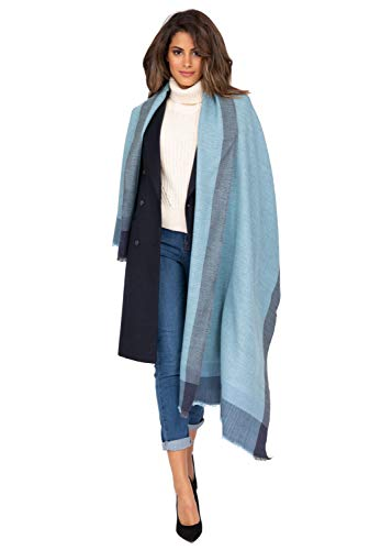 likemary Bufanda Pashmina 100% lana merino estola – manta ligera para viaje – regalo ético