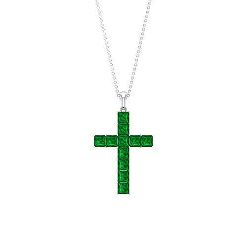 Colgante de esmeralda de 3,5 CT creado en laboratorio, colgante de cruz, colgante mínimo, collar apilable, 18K Oro blanco Sin cadena