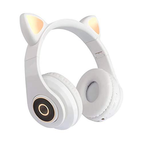 Auriculares de Oreja de Gato, Auriculares Bluetooth inalámbricos con luz LED, Auriculares para Juegos para iPhone, iPad, Smartphones, Laptop, PC, TV (Blanco)