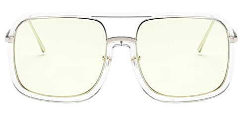 LOPIXUO Gafas de sol Gafas de sol cuadradas de gran tamaño para mujer, transparente, retro, para hombre, para mujer, anteojos, amarillo claro