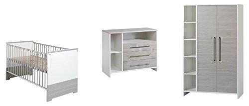 Schardt Kinderzimmer Eco Silber bestehend aus: Kombi-Kinderbett 70x140 cm (inklusive Umbauseiten), Wickelkommode mit Wickelaufsatz & 2-türigem Kleiderschrank