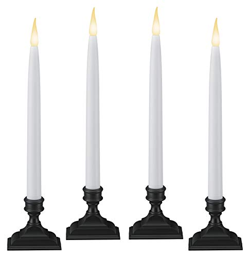 612 Vermont Battery Operated LED Window Candles with Timer (6 on/18 Off), Patented Warm White Dual LED Flicker Flame (Pack of 4, Antique Bronze)