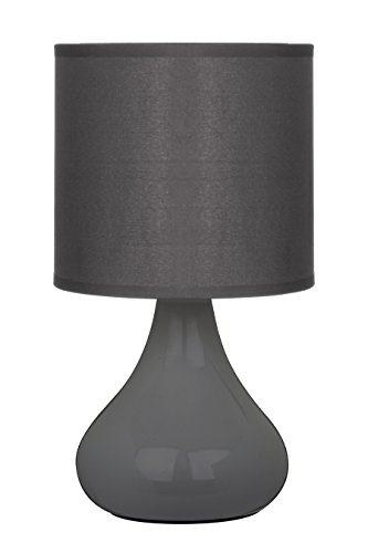 Premier Housewares E14 40 W Small Edison Screw with Bulbus Ceramic Table Lamp in Fabric Shade - Grey