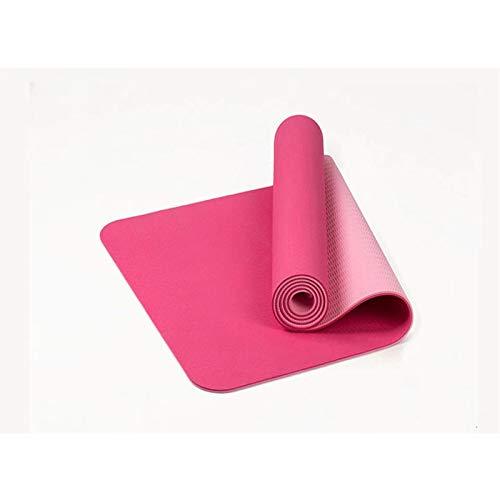 LKY Cómodo de Usar Estera de Yoga, Estera de Yoga TPE Antideslizante de Dos Colores de Espesor de 6 mm, Estera de Ejercicios hogar para el hogar Alfombra sin Olor Adecuado para Uso