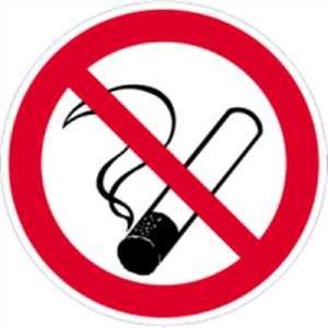 verbodsbord: roken verboden van beide zijden leesbaar 20 cm Ø folie -dubbelzijdig voor glasoppervlakken - volgens ASR A 1.3/BGV A8/DIN 4844