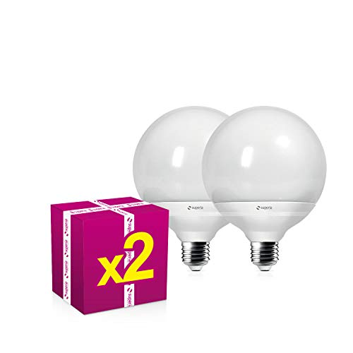 Superia Lampadina LED E27 Globo, 22W (Equivalenti 160W), Luce Calda 3000K, 1980 lumen, GL27C, Pacco da 2