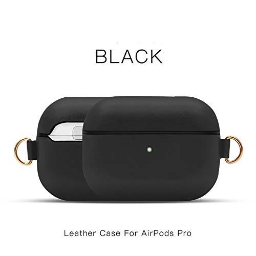 Khcr-CL AirPods Pro Schutzhülle, Echtleder Schutzhülle tragbare, stoßfeste Apple AirPods Pro-Kopfhörer (LED an der Vorderseite sichtbar) Unterstützt kabelloses Aufladen,Schwarz