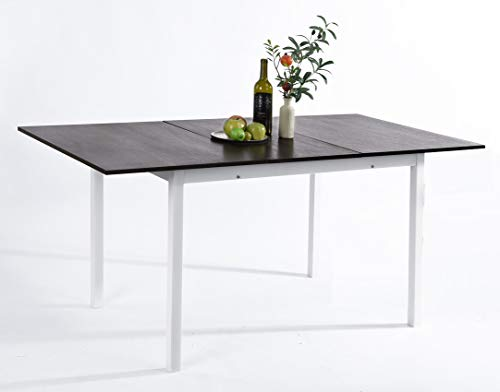 FURNISH1 Large Rectangular Extendable Dining Table, Extendable Black Oak Kitchen Table Remote Work Office table