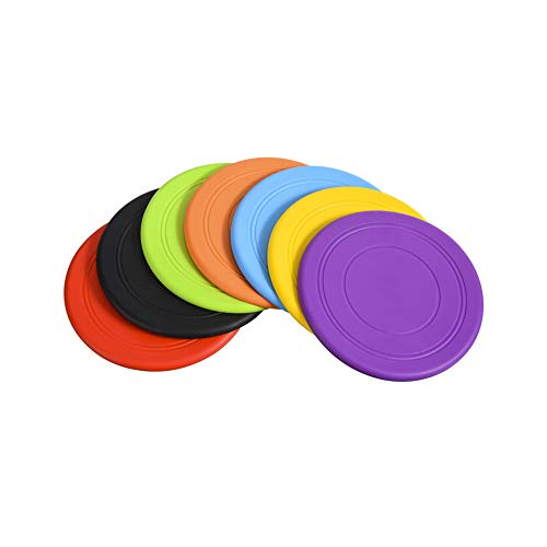 SUQ 7Pcs Hundefrisbee, 17.8cm Robustes Hundefrisbee aus Naturkautschuk, Frisbee aus Kautschuk Intelligenzspielzeug, Langlebiges Training Hundespielzeug, Hunde Scheibe