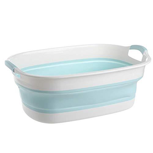 Hopfällbar Tvätt Up Bowl Tjock Rektangulära Basin Halkfria Multi-purpose badrum Folding Basin tvättho Home Intelligent Termo Basin (Color : Blue)