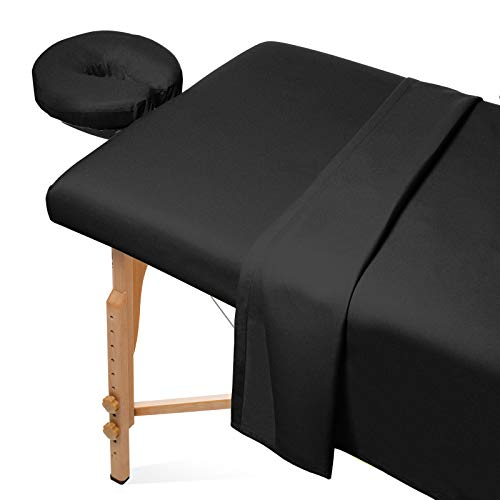 Saloniture 3-Piece Flannel Massage Table Sheet Set - Soft Cotton Facial Bed Cover - Includes Flat and Fitted Sheets with...