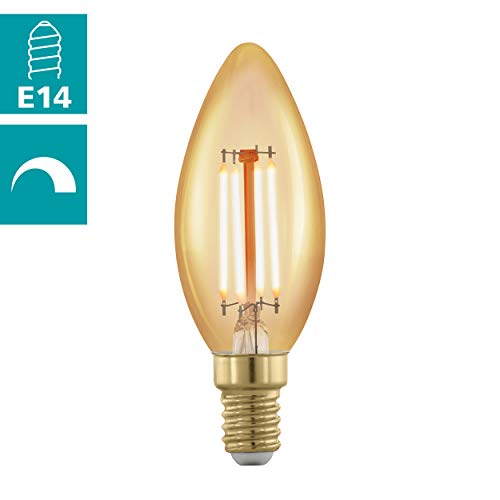 EGLO LED E14 dimmbar, Golden Vintage Glühbirne Kerze für Retro Beleuchtung, 4 Watt (entspricht 30 Watt), 320 Lumen, E14 LED warmweiß, 1700 Kelvin, LED Leuchtmittel, Edison Glühbirne C37, Ø 3,7 cm