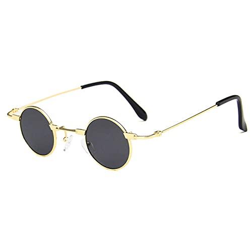 MIMITU Gafas de sol redondas pequeñas para hombres y mujeres UV400 Gafas de sol punk de metal Steampunk Gafas vintage Tonos negros, gris dorado