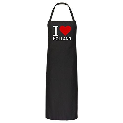 Multifanshop schort Classic I Love Holland zwart - grillschort kookschort