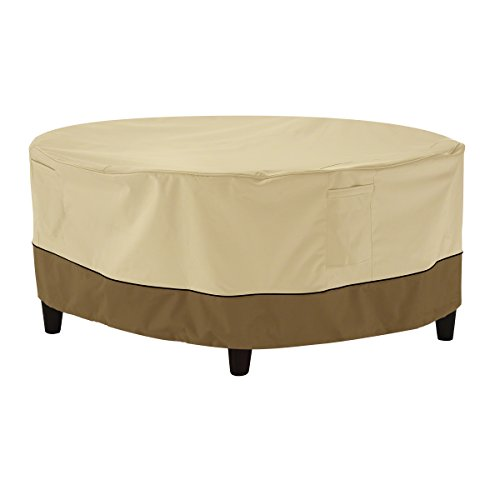 Classic Accessories Veranda Water-Resistant 34 Inch Round Patio Ottoman/Coffee Table Cover