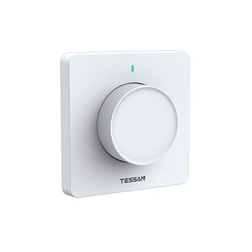 TESSAN Smart Home Dimmer, Smart Wlan Dimmer mit Sprachsteuerung, Wlan Dimmschalter mit Fernbedienung, Dimmbar Schalter mit Timerfunktion, Smart Lichtschalter Kompatibel mit Alexa Google Home