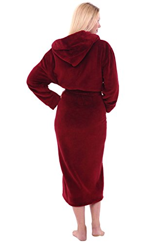 Alexander Del Rossa Women's Plush Fleece Robe with Hood, Warm Bathrobe 1X 2X Burgundy (A0116BRG2X)